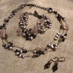 Beaded Necklace, Earrings and Bracelet Set